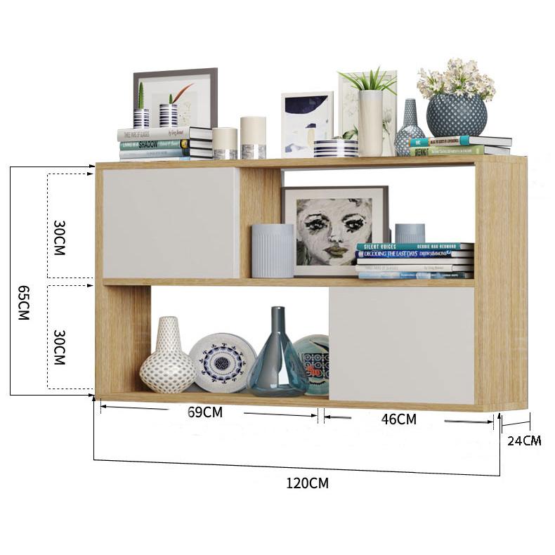 kích thước kệ 2 ngăn treo tường 120x65x24cm