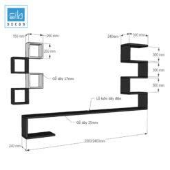 Bản vẽ kích thước chi tiết kệ tivi treo tường phòng khách BST89