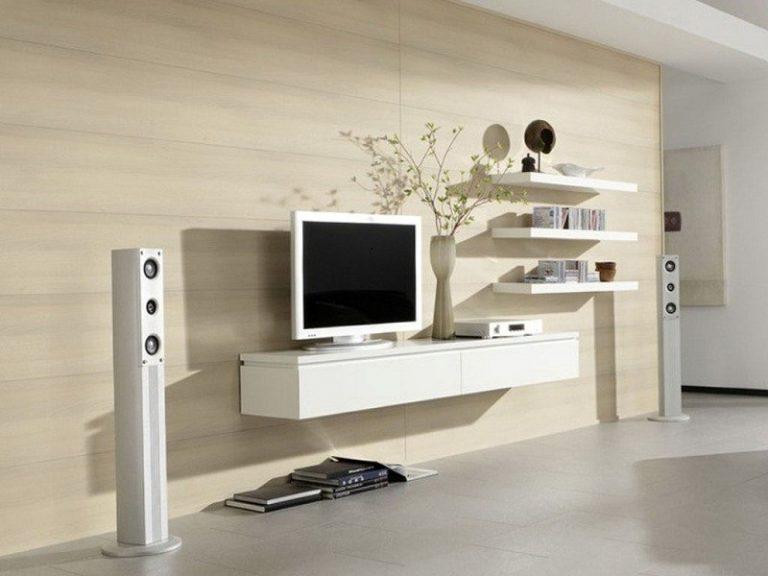 Kệ tivi ngăn kéo màu trắng phối thanh ngang đơn giản, tạo sự thanh lịch cho ngôi nhà