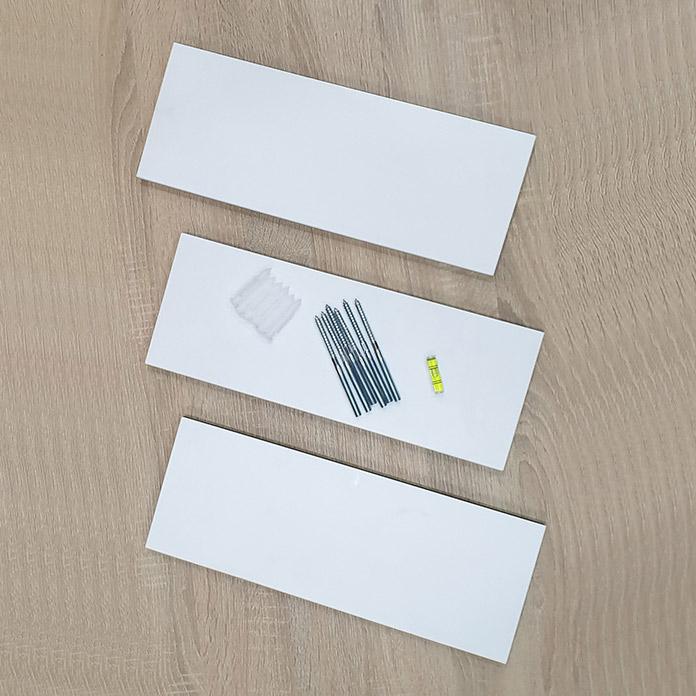 3 kệ thanh ngang màu trắng và phụ kiện
