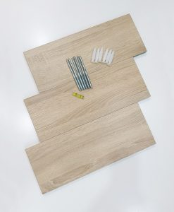 3 kệ thanh ngang màu vân gỗ sồi và phụ kiện