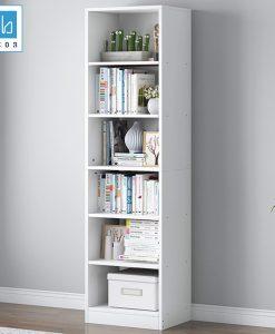 Kệ sách KSG01 kích thước 178x40x24cm màu trắng