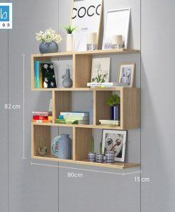 Kệ sách 4 tầng màu vân gỗ sồi 80x82x15cm