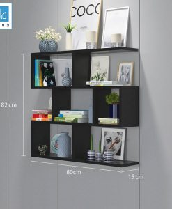 Kệ sách 4 tầng màu đen 80x82x15cm