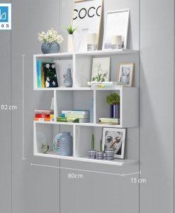 Kệ sách 4 tầng màu trắng 80x82x15cm