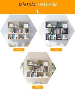 Kệ sách treo tường 4 tầng KT06 gồm 3 màu: Trắng, Đen và Vân gỗ sồi