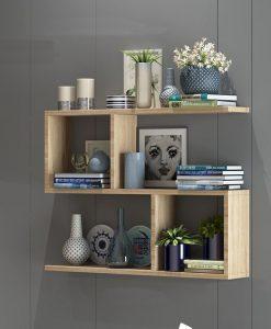 Kệ sách 3 tầng màu vân gỗ 80x55x15cm