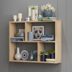 Kệ sách treo tường chữ nhật KT07 kích thước 80x65x15cm màu vân gỗ sồi