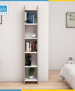 Kệ sách màu vân gỗ kết hợp trắng