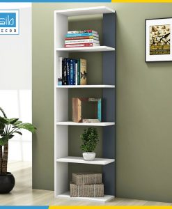 Kệ sách gỗ KSG11 màu trắng phối xanh