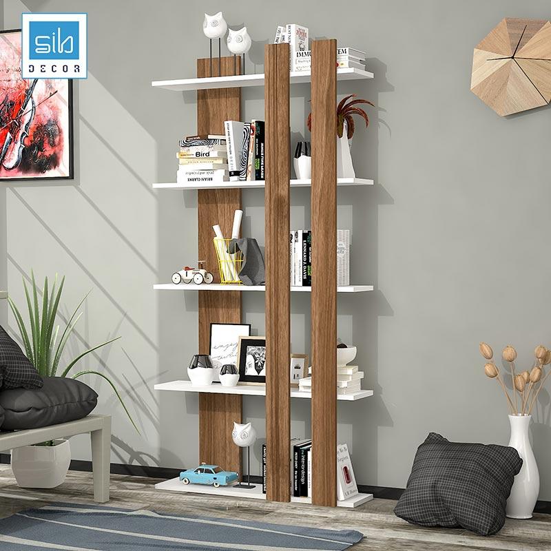 Kệ gỗ trang trí 5 tầng màu trắng walnut