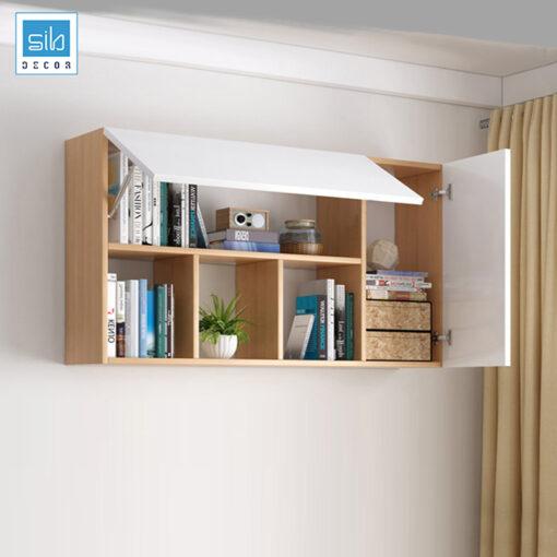 Tủ sách văn phòng treo tường màu trắng kết hợp vân gỗ sồi
