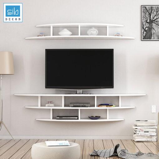 Phòng khách đẹp và hiện đại với bộ kệ trang trí TV80