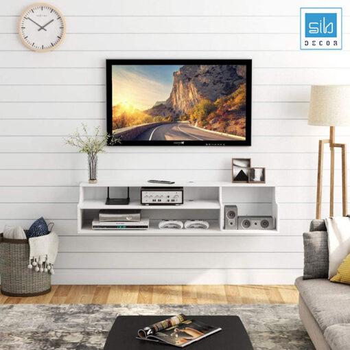 Thiết kế đơn giản, chiếc kệ tivi rất phù hợp với những không gian nhỏ cần sự ngăn nắp, gọn gàng
