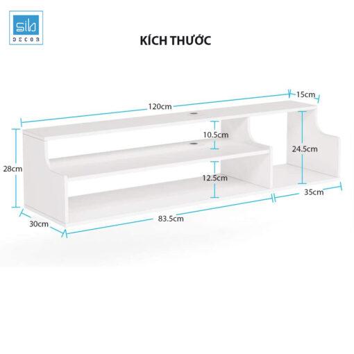 Kích thước của kệ tivi treo tường 3 tầng màu trắng TV79. Kệ thiết kế có 02 nắp luồn dây điện.