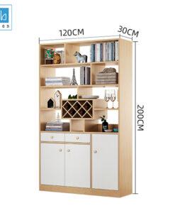 Kích thước kệ gỗ ngăn phòng cỡ vừa (3 cánh, 2 ngăn kéo)