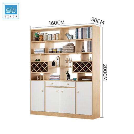 Kích thước kệ gỗ ngăn phòng cỡ lớn (4 cánh, 2 ngăn kéo)