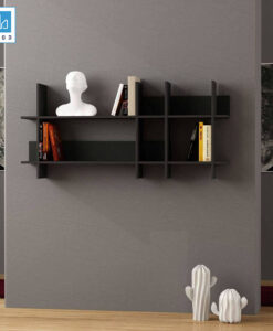 Kệ sách gỗ treo tường KT417 màu đen