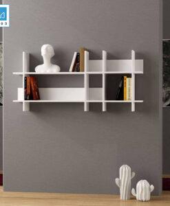 Kệ sách gỗ treo tường KT417 màu trắng