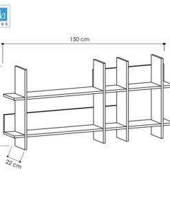 Kích thước kệ sách treo tường KT417