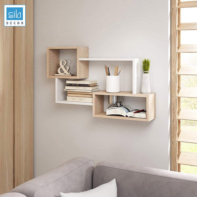 Trắng và Vân gỗ kết hợp tạo nên một chiếc kệ trang trí đẹp cho không gian phòng khách
