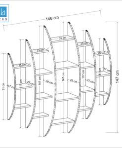 Kích thước chi tiết kệ gỗ treo tường trang trí cách điệu KT710