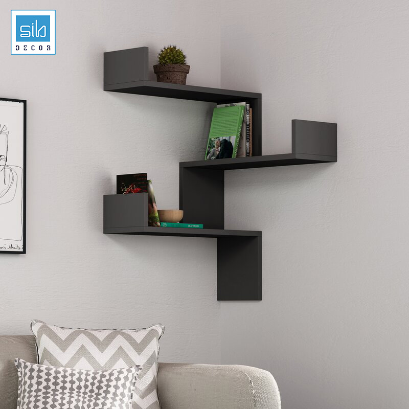 Kệ trang trí góc tường màu đen