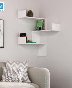 Kệ trang trí góc tường màu trắng