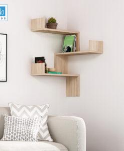 Kệ trang trí góc tường màu vân gỗ sồi