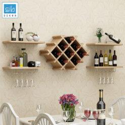 Kệ để rượu phòng khách, phòng ăn, nhà bếp màu vân gỗ sồi hiện đại