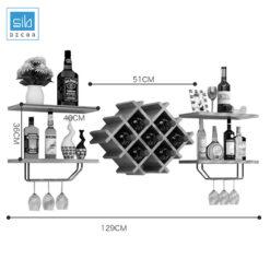 Kích thước kệ rượu trang trí treo tường KR06
