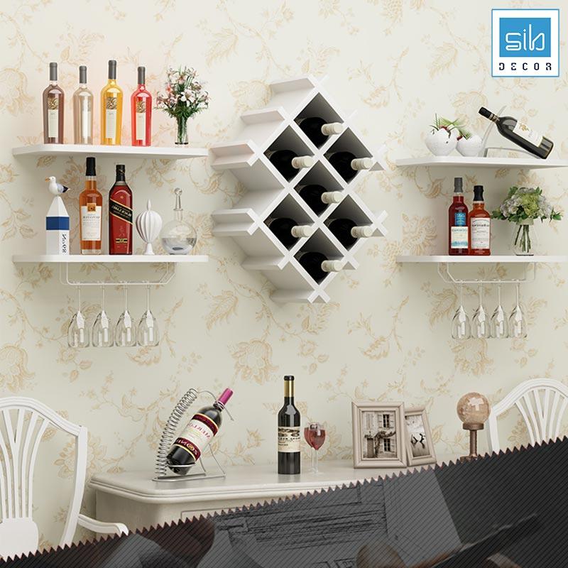 Kệ để rượu phòng khách, phòng ăn, nhà bếp màu trắng tinh tế
