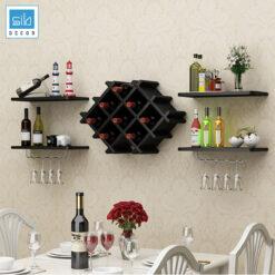 Kệ để rượu phòng khách, phòng ăn, nhà bếp màu đen đơn giản mà đẹp