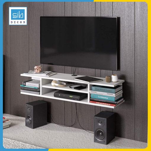 Kệ trang trí tivi màu trắng. Thích hợp để sách, đồ trang trí, DVD, thiết bị điện tử, loa.