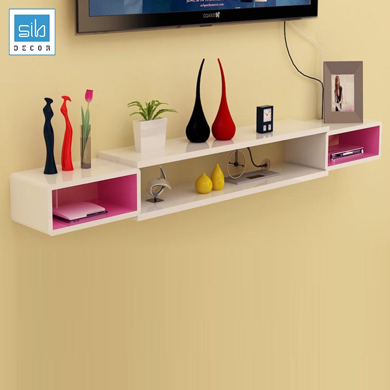 Kệ trang trí tivi treo tường BST21 màu trắng hồng