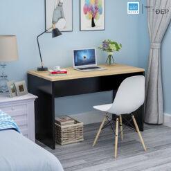 Bàn làm việc màu đen kết hợp mặt bàn màu vân gỗ sồi