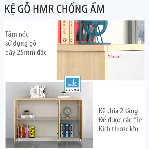 Chất liệu HMR cao cấp, dày 17mm (đặc biệt nóc tủ gỗ dày 25mm).