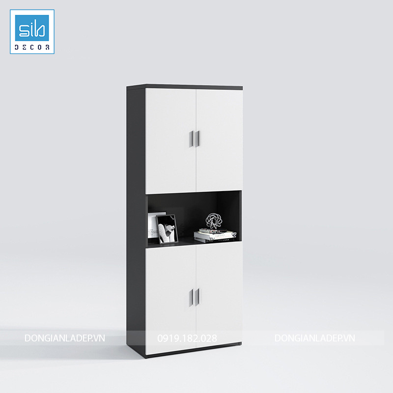 Tủ hồ sơ văn phòng đơn giản màu trắng đen kích thước 80x200x40cm