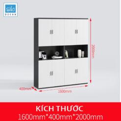 Tủ hồ sơ văn phòng đơn giản màu trắng đen kích thước 160x200x40cm