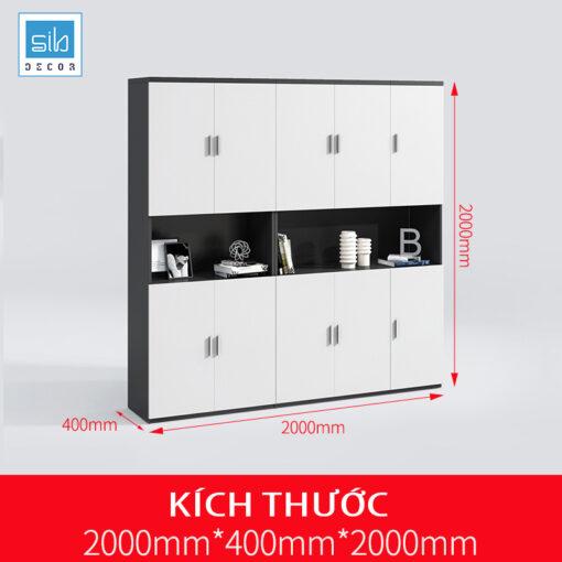 Tủ hồ sơ văn phòng đơn giản màu trắng đen kích thước 200x200x40cm