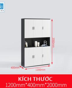 Tủ hồ sơ văn phòng đơn giản màu trắng đen kích thước 120x200x40cm