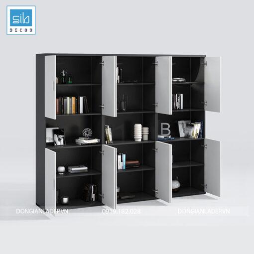 Tủ hồ sơ văn phòng đơn giản màu trắng đen kích thước 240x200x40cm