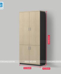 Tủ hồ sơ màu đen với 4 cánh màu vân gỗ (có tùy chọn gắn khóa miễn phí)