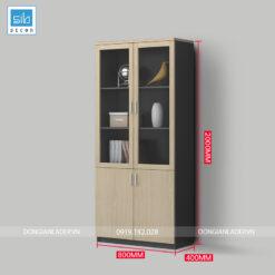 Tủ tài liệu màu đen vân gỗ với hệ 2 cánh kính (có tùy chọn lắp khóa miễn phí)