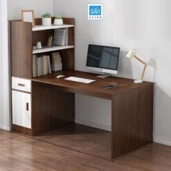 Bàn làm việc kèm tủ sách màu trắng + vân gỗ óc chó (tủ sách bên trái)