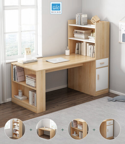 Chiếc bàn làm việc đa năng với hệ kệ/tủ sách tiện lợi