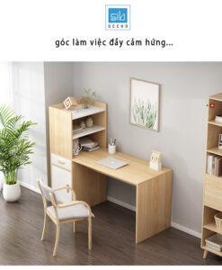 Góc làm việc đơn giản mà đẹp với bàn làm việc kèm tủ sách.