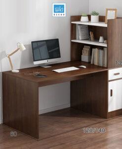 Bàn làm việc kèm tủ sách màu trắng + vân gỗ óc chó (tủ sách bên phải)