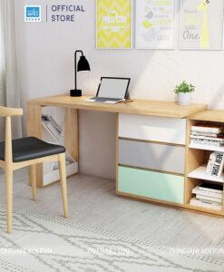 Khi bàn làm việc và tủ sách sắp đặt theo chiều dọc bức tường