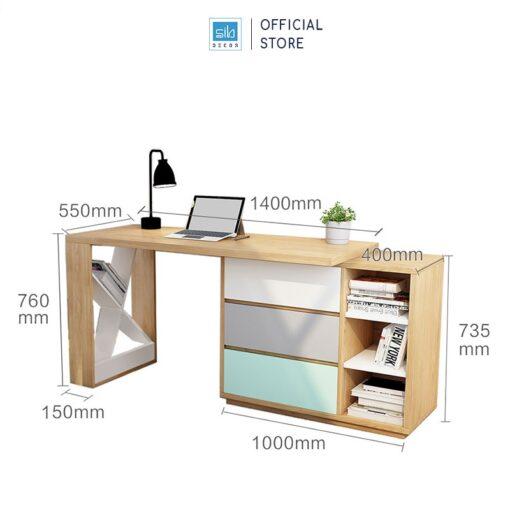 Kích thước chi tiết (mặt bàn gỗ dày 35mm)